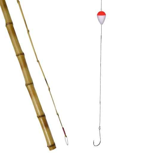 caniço de taquara vara de bamvu boia anzol e linha