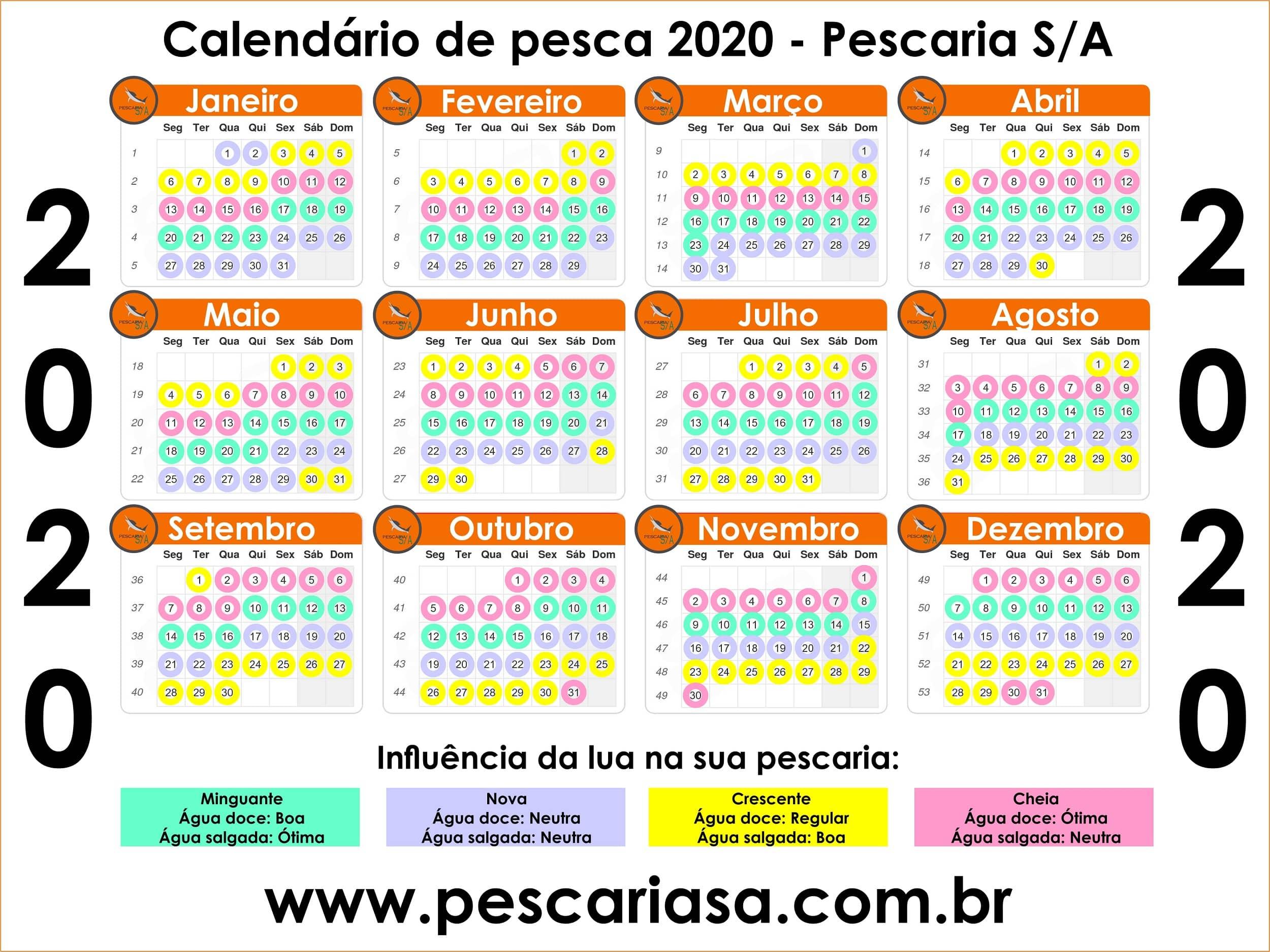 calendário de pesca 2020 básico lunar para imprimir