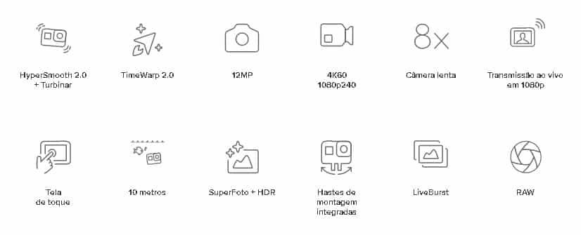 especificações técnicas gopro 8 hero