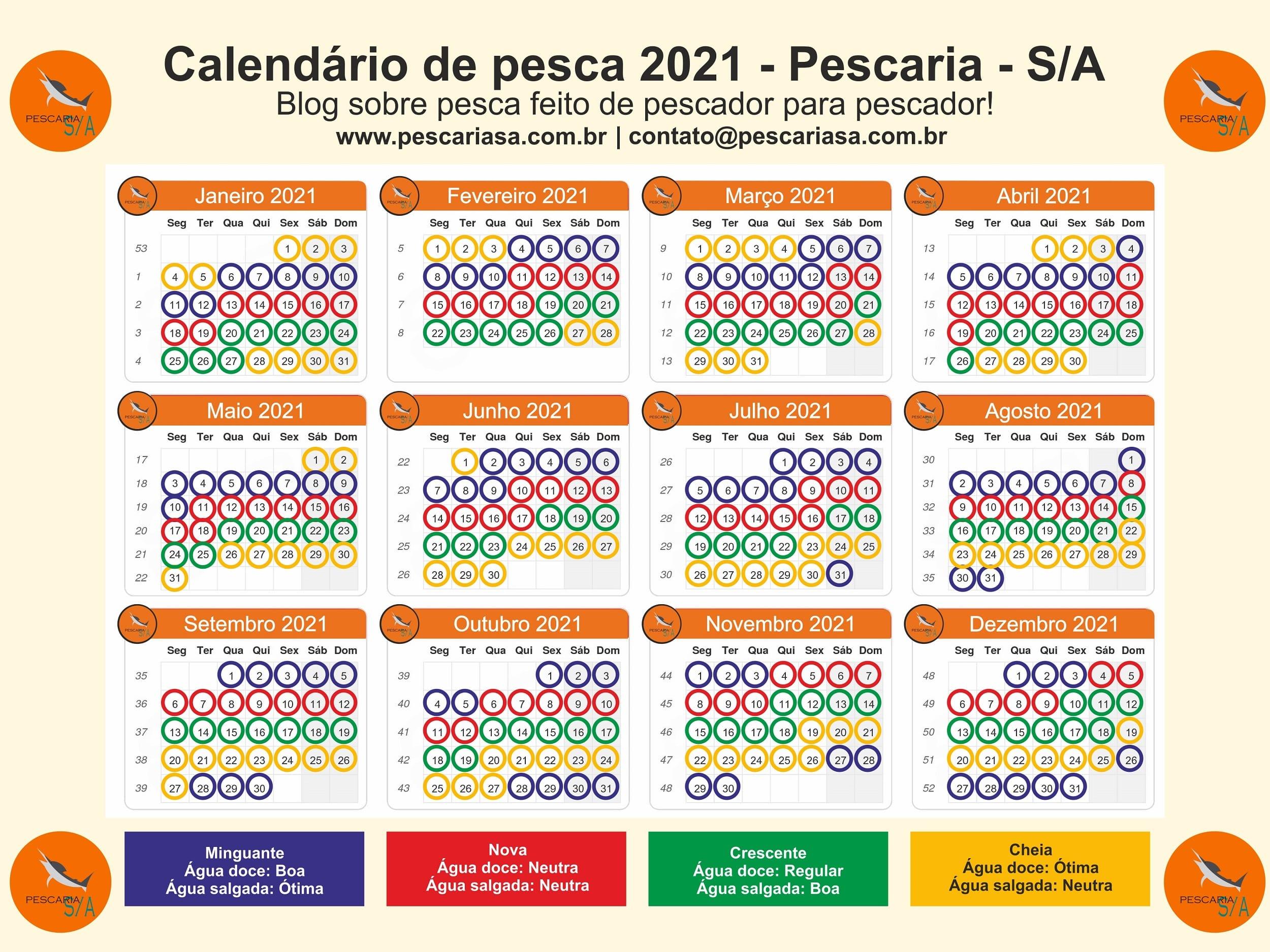 baixar grátis calendário de pesca 2021